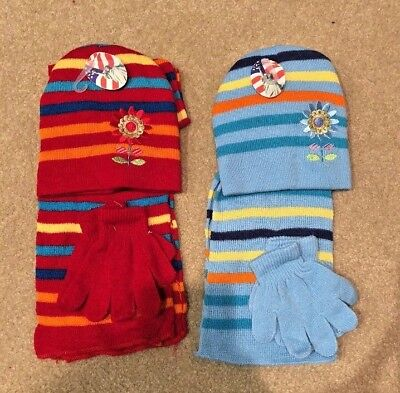 Girl's Winter Matching Stocking Cap & Scarf Set 2 Pack Red & Light Blue B257 NEW