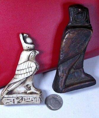 2 Egyptian HOURS, Symbol of Protection, Natural Carved Stone, See Description