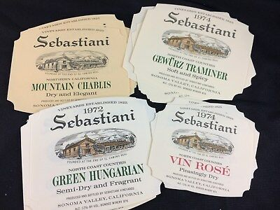 LOT OF VINTAGE SEBASTIANI VINEYARDS WINE LABELS FROM THE 1970's NEW CONDITION