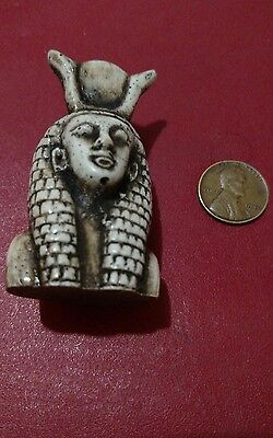 Egyptian Statue, Queen Cleopatra  Natural Carved Stone 65 mm,  Read Description