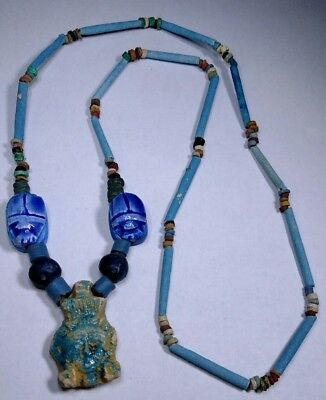 """Queen Cleopatra Egyptian Necklace, Mummy Beads Hand Beaded Terracotta 24"""""""