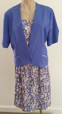 Retro 1990s Upcycled PURPLE PINK BLUE Floral Day Skirt & Jacket Set size 16