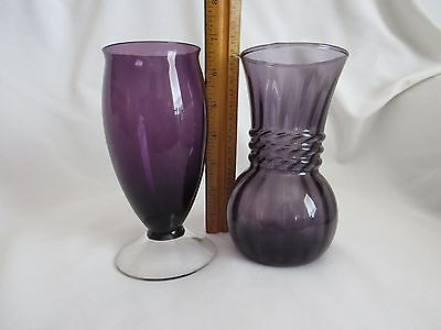 Two Vintage Purple Glass Vases - 6 1/2 Inches Tall