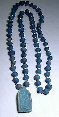 "Wonderful Egyptian Pharaoh's Necklace Mummy Beads Terracotta 32"", Amarna Amulet"