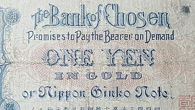 Korea Bank of Chosen 1915 Japanese Administration One Yen in Gold Note 17b