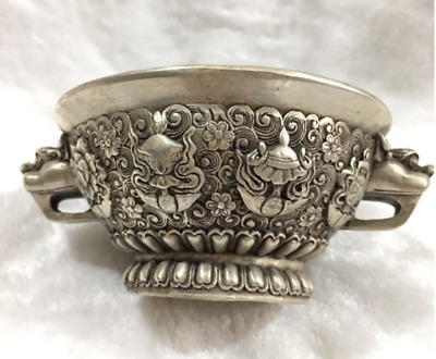 Old Tibet Buddhism silver Auspicious Eight treasures beast head statue bowl cup
