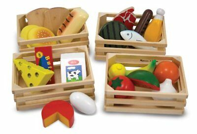 Play Food Set Kids Pretend Toy Kitchen Wooden Food Groups Fish Fruit Cooking