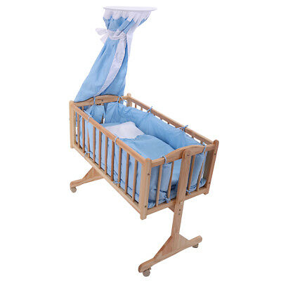 Pine Wood Newborn Baby Toddler Bed Cradle Nursery Furniture Safety Blue