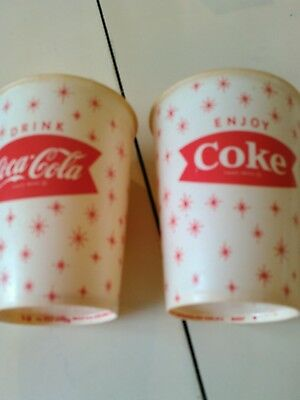lot of 2 old coca cola wax paper cups
