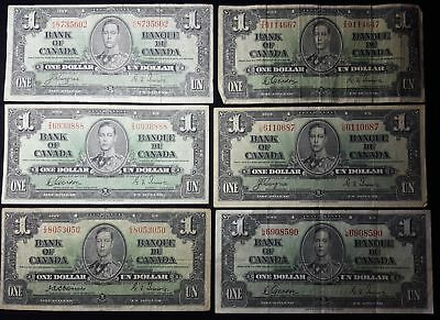 Canada Bank of Canada 1937 Lot of 6 One Dollar $ George VI Banknotes