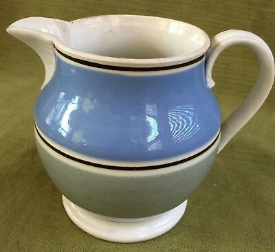 *NR* Antique Mocha Ware Banded Pitcher w/ Blue and Green Decor, England, ca.1830
