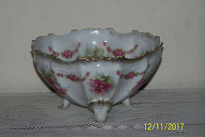 "Antique Carnation German Porcelain Three Footed 7"" Bowl"