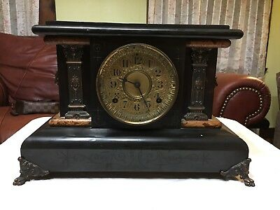 Antique / Vintage Seth Thomas Adamantine Mantle 8 Day Clock Key And Pendulum