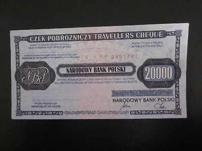 1990 Poland 20000 zlotych travellers cheque rare nominal Note