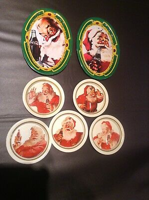 Coca Cola  Santa Coasters(5) & Change Trays(2)