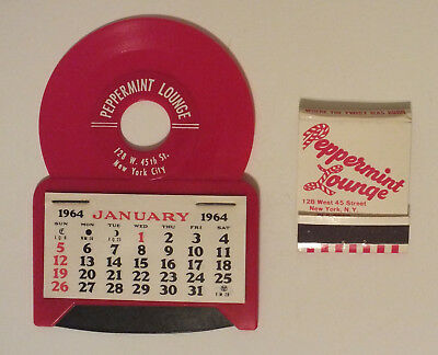 Vintage Peppermint Lounge 1964 Calendar and Match Cover Beatles Perrermint Twist