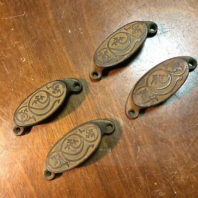 Antique Cast Iron ORNATE DRAWER Pulls x4 Bin Cup Style Dec 23 1873 Vintage RARE