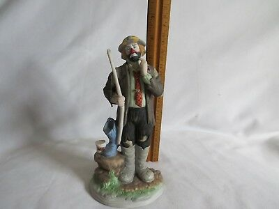 """Emmett Kelly, Jr Flambro Collection 8"""" Figurine of Clown with Fishing Equipment"""