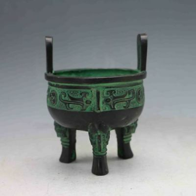 Chinese Bronze Handwork Carved Ding Incense Burner