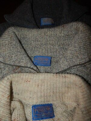 NWOT 3 lot Sweater Men Pendleton Cardigan 100% Virgin Wool  X-large Grays