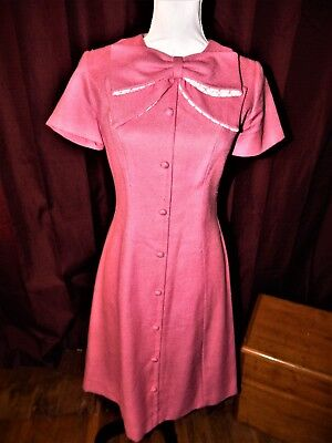 True Vintage 1940 - 1950 Pink Linen Ladies dress 34x28x36