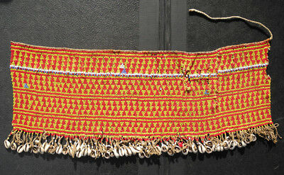 Old African Beaded Modesty Apron - Bamileke - glass beads and cowries