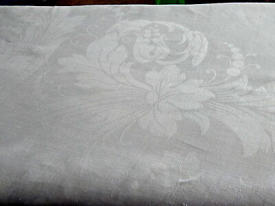 "Vtg IRISH LINEN Dbl DAMASK Tablecloth 84"" x 90"" Exotic Floral Dot Whimsical"