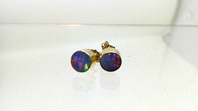 9 carat  375 stamped Yellow Gold Genuine Coober Pedy Opal Doublet Stud Earrings
