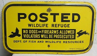 1953 Posted wildlife refuge metal sign hunting fishing Ky farm ranch cabin