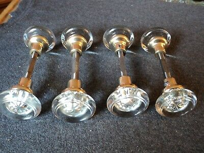 vintage brass glass door knobs spindles rod 8 knobs 4 pairs round handles