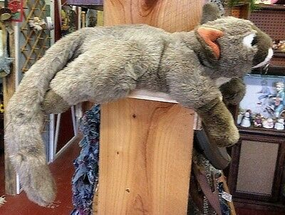 """Large Vintage Cat Plush Interactive Stuffed Animal By Tiger Trading Co. 25"""" Long"""