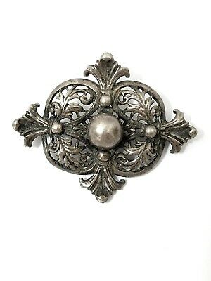 Antique Victorian Sterling Silver Pin Signed Brooch Ornate Filigree Solid 12.4 G