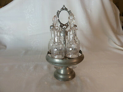Antique Cruet Set with 5 Glass Bottles and Pewter Stand