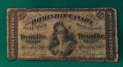 1870 Dominion of Canada 25 cent Fractional Note