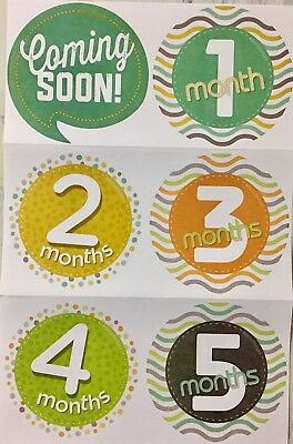 Baby Month Stickers 1-12 Coming Soon Age Stickers Orange Green Yellow 1st year