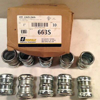 """20 TOPAZ 663S 1"""" EMT Couplings New In The Box. 2 Boxes Of 10. FREE SHIPPING!!"""