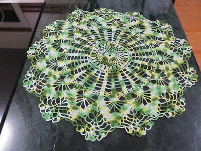 "Vintage Crochet Doily - Variegated Green - 18"" In Diameter - Handmade"
