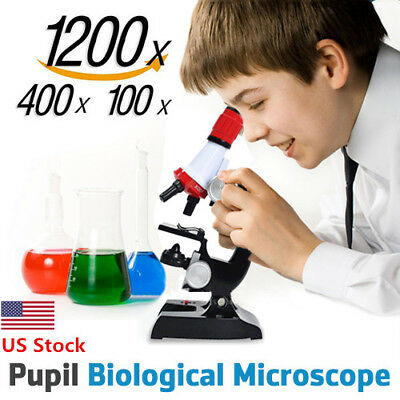 US Kids Microscope Science Lab Kit 100x400x1200x Home School Biology Education