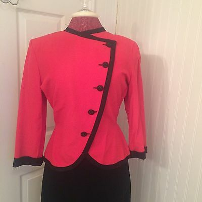 vintage 1940's women's suit jacket, red with black trim, asymmetrical buttons