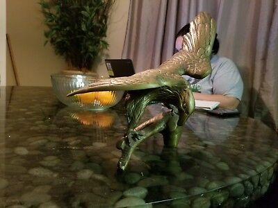 Vintage Large Brass Eagle Perched On Limb / Branch Statue Figurine