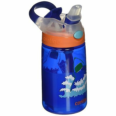 Contigo AUTOSPOUT Gizmo Flip Kids Straw Water Bottle 14oz Blue Shark Spill Proof