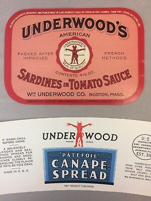 2 c. 1940 Vintage UNDERWOOD DEVIL SARDINES Tomato & CANAPE Advertising LABEL