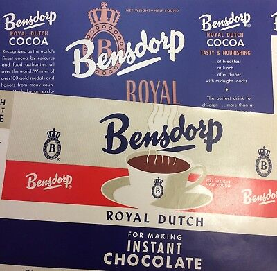 2 1948 COCOA Bensdorp Royal Dutch Hot CHOCOLATE Advertising LABEL Vintage Orignl