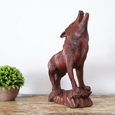 Wolf Statue Wood Sculpture Carving Decoration Animal Woodcarving