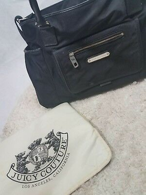 Juicy Couture Large Black Baby Tote Diaper Bag W/ Changing Pad EUC