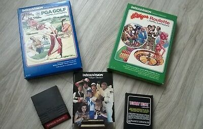4 Intellivision by mattel Electronics games for color TV with advertisement book