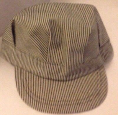 Adult Sized Blue & White Striped Adjustable Railroad Conductor Engineer Hat Cap