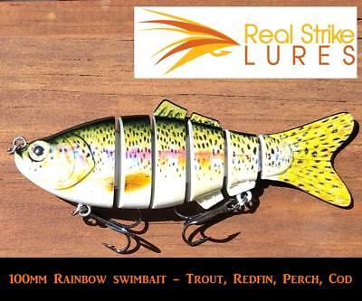 10cm rainbow swimbait Fishing Lures Trout Redfin Murray Cod Yellowbelly Bass ...