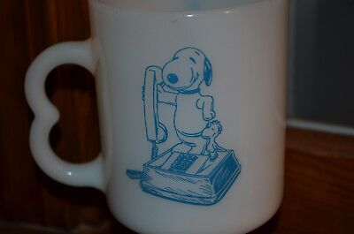 Vintage Fireking ? Snoopy Mickey Mouse At&t Phone Advertising Mug Cup Woodstock