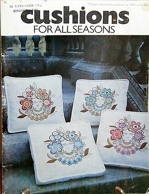 Vintage retro 1970s embroidery leaflet - Cushions for all seasons - 12 designs